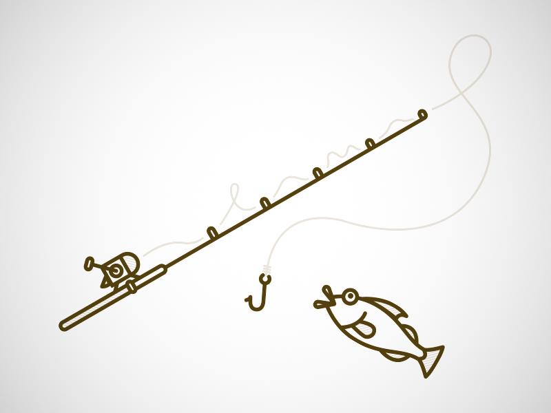 Gone Fishing illustration vector lines fishing fish fishing pole