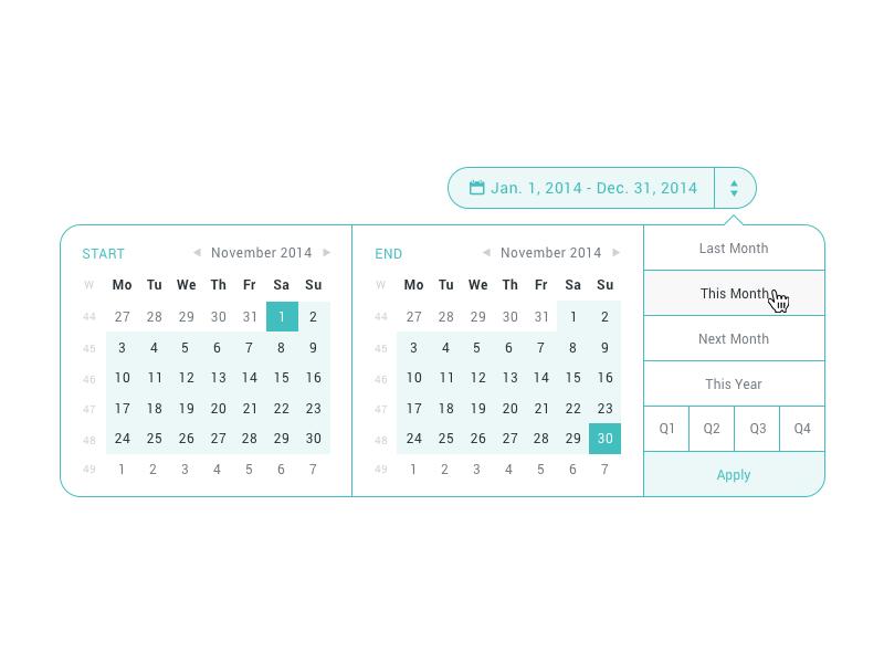 Date-Range Picker date range ui dropdown picker calendar dashboard