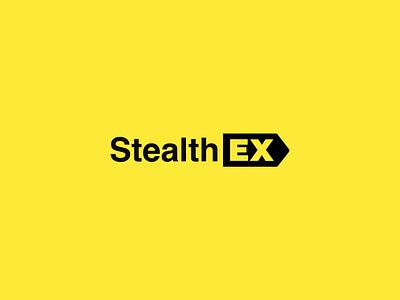 StealthEX crypto exchange crypto currency cryptocurrency crypto ethereum bitcoin exchange yellow logo logos brand trademark marks behance design clean branding logotype