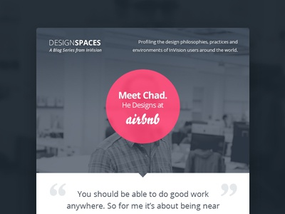 DesignSpaces email pink mystery quote dark template interview pull quote
