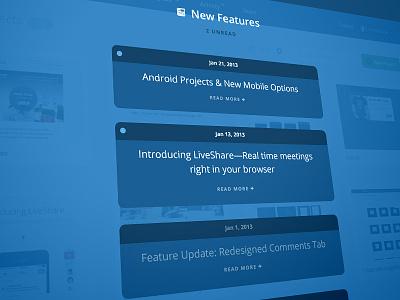 [WIP] New Features Overlay overlay blue inbox news updates unread skew perspective