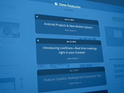 [WIP] New Features Overlay overlay blue inbox news updates unread skew perspective