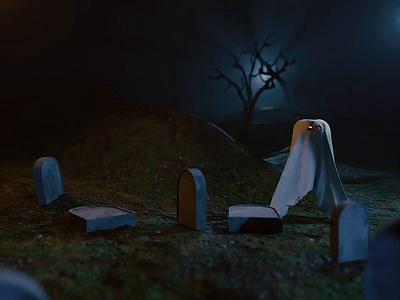 Pumpkin ghost fail atmosphere night physics animated pumpkin ghost blender 3d blender 3d