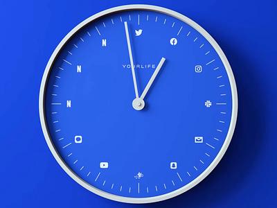 Modern living motion illustration screen time time apps clock blue 3d redshift c4d
