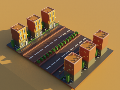 Housing Low Poly blender 3d lowpoly3d road tree design dailyui vector minimal 3d art house housing blender lowpoly 3d illustration
