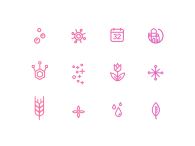 Icons for the pattern drops spore rye leaf shimmer taj mahal calender bubbles tulip bloom outline icons icons