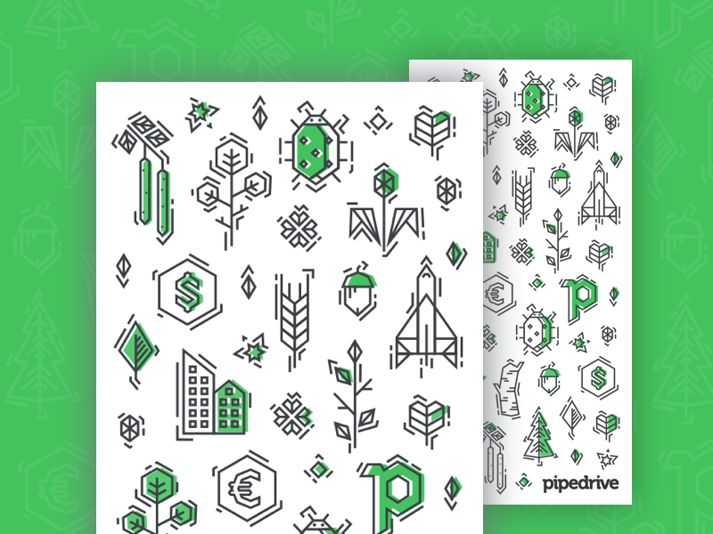 Pipedrive Pattern 2016 birch tree leaf rocket lineart icons line icons pattern