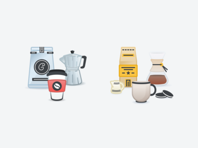 Coffee Themed Pricing Tier Illustrations
