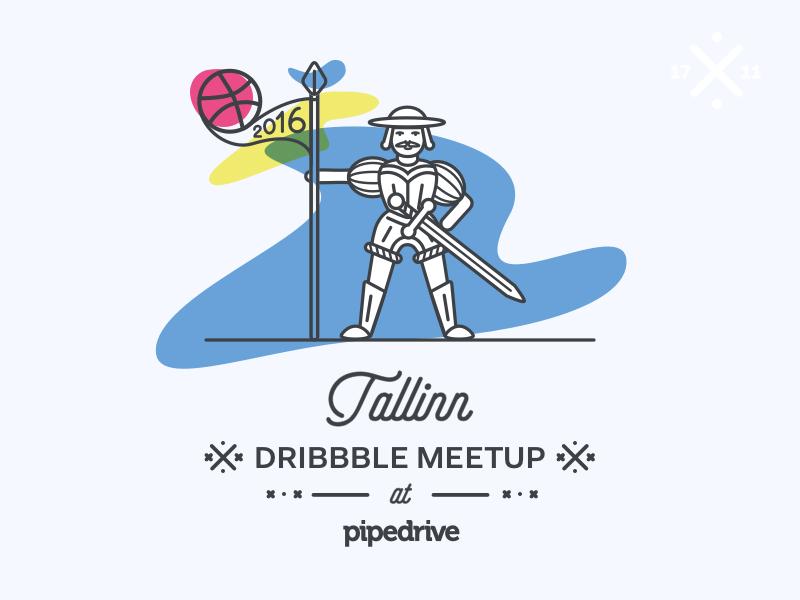 Dribbble Meetup in Tallinn!  outline line illustration estonia tallinn vana toomas meetup