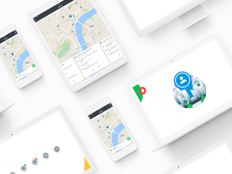 Nearby Feature for iOS and Android map marker city illustration cross-platform directions navigation cards map view map