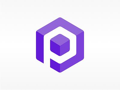 "Blockchain Logo ""P"" bitcoin icon logotype cube node brand p crypto blockchain logo"