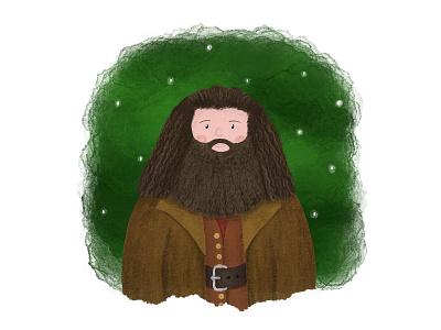 Hagrid hand drawn watercolour pencil drawing digital art illustration design art characterdesign character harrypotter hagrid