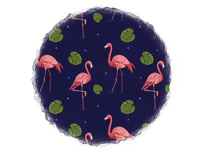 Flamingo Pattern surfacepattern watercolour tropical bird pencil drawing digital art illustration design art repeat pattern pattern design pattern flamingo