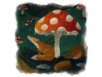 Tiny Fox or a Huge Mushroom? watercolour characterdesign pencil drawing digital art illustration design art autumn rain wildlife mushroom tinyfox fox