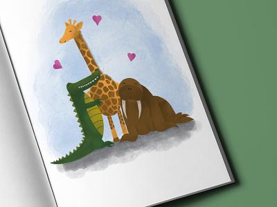 Commissioned Book Illustration book commission bespoke watercolour pencil drawing digital art illustration design art walrus crocodile giraffe characterdesign character book illustration