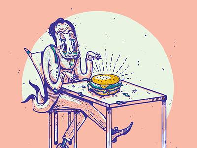 Comfort Foodie - Burger food burger character design foodie vector illustration