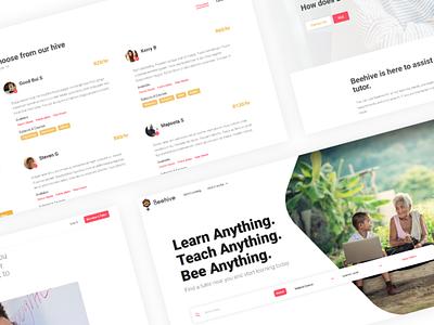 Beehive UI web app education tutoring ux design beehive minimal ui education website