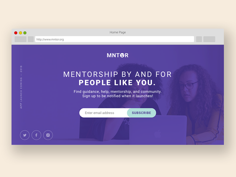 MNTOR Splash page web app mentorship splash