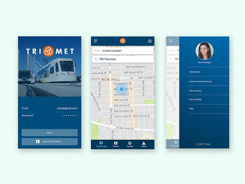 Trimet public transportation wayfinding app