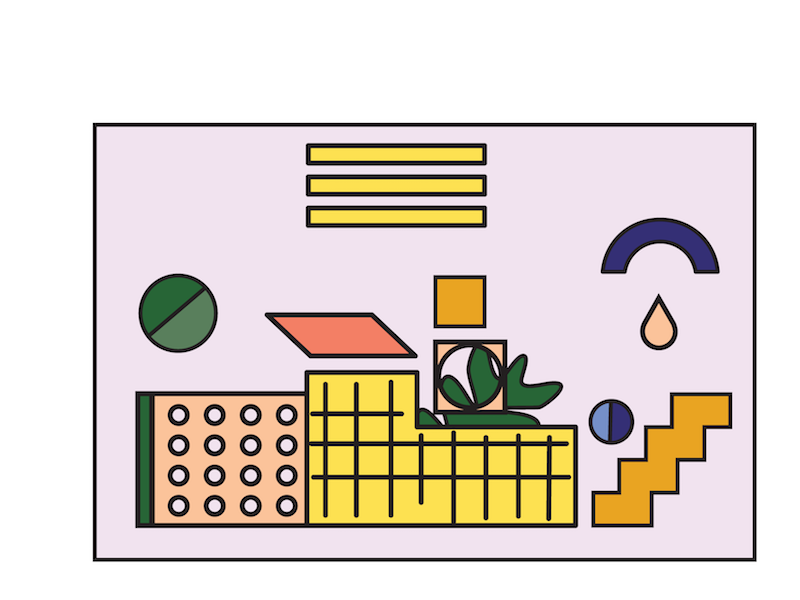 Neighborhood landscape plants shapes neighborhood vector lineart
