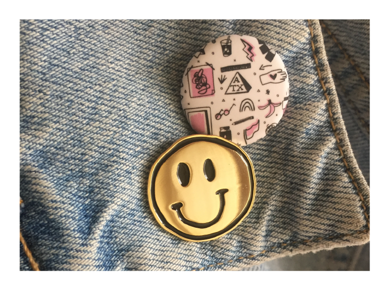 Afterhours show pin poster show atx smiley face enamel pin