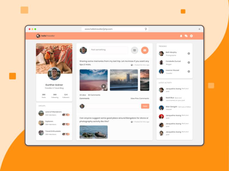 Hello Traveler website design community forum travel website app concept design minimalist ui figmadesign design
