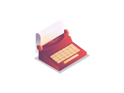 Writer.. website web ui illustration 2d antique isometric icon document paper gradients retro vintage old fashion letter words typing