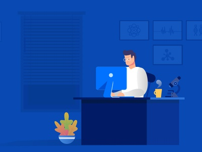 Researcher! video digital illustration 2d colorful office working midnight room vector layout people scientific paperwork research