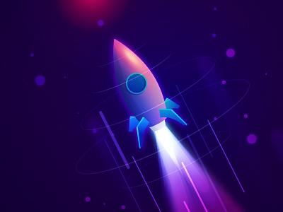 Rocket Launch! illustration 2d textures rocket thruster .ai vector space gradients colors light launch rocket