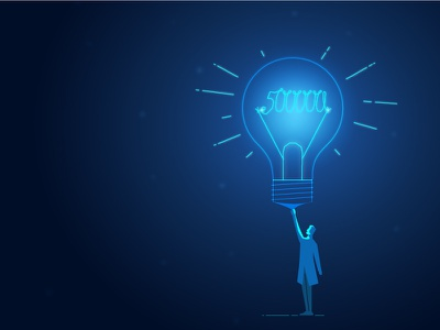 Idea! advertisement youtube 2d beginning shine target aim start gateway stylised. light person gradient glow bulb graphic illustration thought concept idea