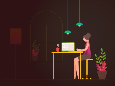 Work and tea! working 2d potted pants plants window texture simple design stylised flat laptop dark room work girl colorful gradients vector character illustration design minimal