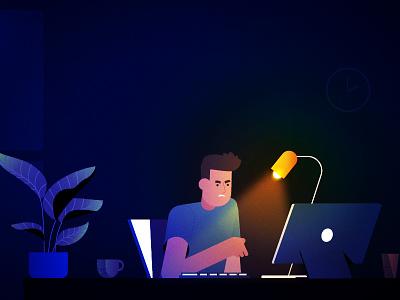 Work Night! working 2d desktop illustration dark blue plant lamp boy man character expressions graphic glow light vector textures gradients computer work midnight