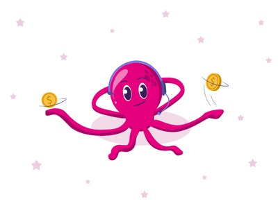 Octopus! video web money animation relaxed gesture attitude illustration fun vector expressive happy satisfied mood expression character