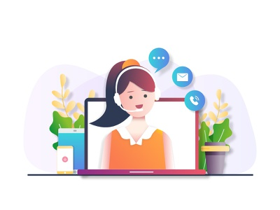 Customer Support. ui web app webpage graphic character design helpline phone chat communication design character gradients vector icons illustration remote laptop customer support