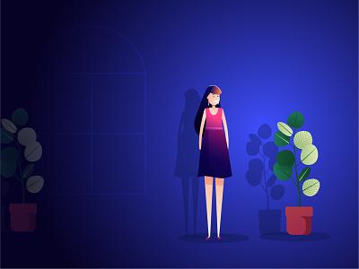 Spot Light! 2d graphic vector illustrator illustration lady plant night dark spotlight cool and warm gradients focus click room girl women shadow