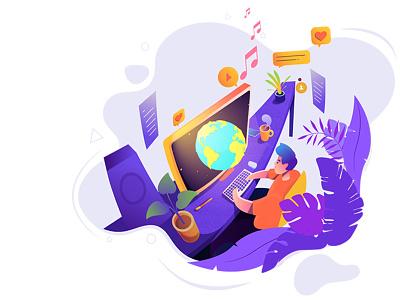 Artist! app home computer gradients icons language leaves illustrated food creativeworld coffee webdesign ui universal globe workplace desk giving life animator illustrator