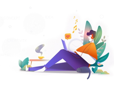 At Ease! explore inspiration textures webdesign work leaves art bird cat ease india freedom fun laptop coffee music app web ui illustration