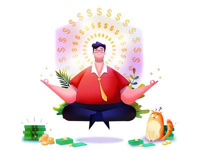 Endless Earnings! savings safe page coins investment finance success man cat profit gain illustration website web ui money business boost app 2d