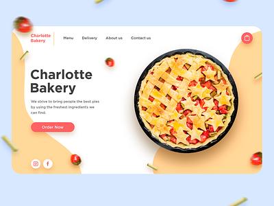 """Charlotte Bakery"" Landing Page Design bakery mobile design desktop strawberry cake pie mobile app mobile ui delivery app web app typography ux branding vector ui design art"