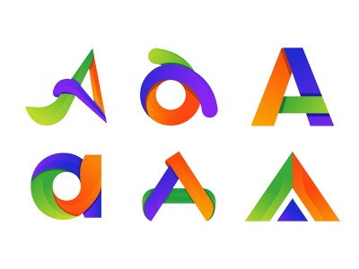abstract colorful letter a logo design concept. company abstract flat creative concept branding logo corporate business design