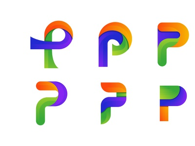 colorful p letter logo design concept vector company abstract flat creative concept branding logo corporate business design
