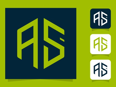Letters a and s or as line logo design. abstract icon ui creative concept branding logo corporate business design