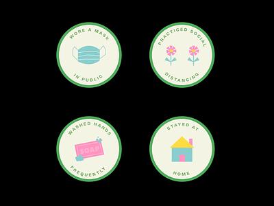 COVID-19 Safety Merit Badges badges flat design badge design illustration