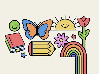 Monoline Illustration rainbow illustrator vector colorful flat monoline illustration design