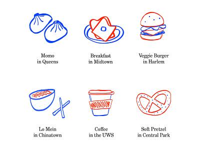 New York Food Illustration flat illustrator adobe illustrator adobe draw drawing sketchbook nyc new york food illustration food illustration