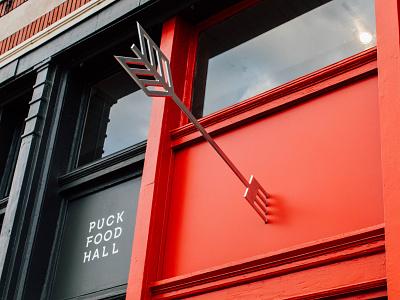 Puck Food Hall Signage branding design