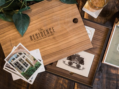 The Residence at 11 W. Huling Welcome Box illustration design branding