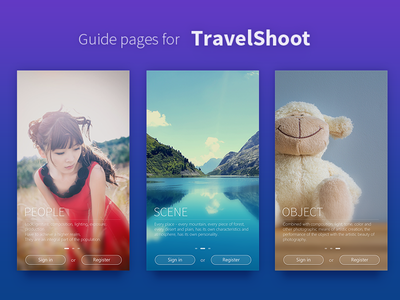 Guide pages for TravelShoot pages guide