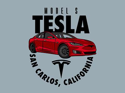 Tesla Motors Badge vehicle car tesla custom adobe illustrator logo design badge design badge logo