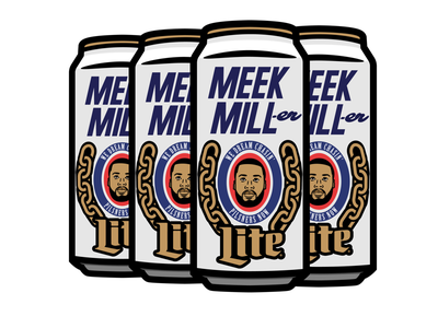 A can of Meek Mill-er Lite merch badge graphic design graphics